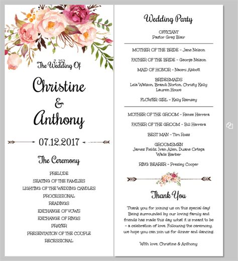 wedding program template printing your program template front and back templett
