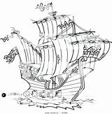 Ship Pirate Coloring Sunken Cartoon Clipper Template Drawing Adult Pirates Ships Colorir sketch template