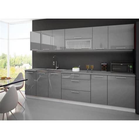 cuisine high cuisine laquee high gris blanc 3m avec plan de travail
