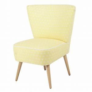 Fauteuil Suspendu Maison Du Monde : fauteuil vintage motifs en coton jaune scandinave ~ Premium-room.com Idées de Décoration