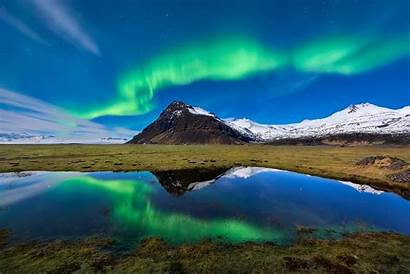 Aurora Borealis Nature Mountain Reflection Mountains Iceland