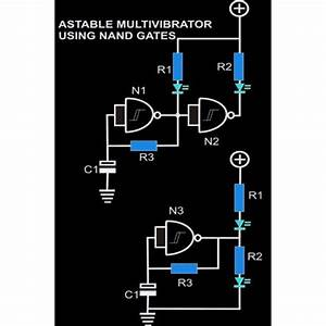 Astable Multivibrator Circuit Using Nand Gates
