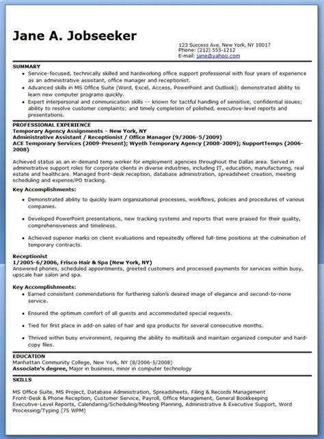 Temp Agency On Resume by Temporary Administrative Assistant Resume Resume Downloads