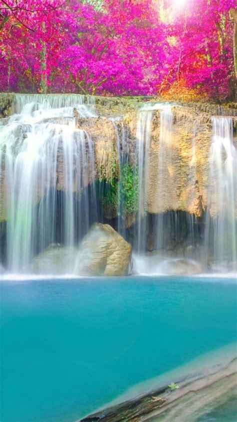 wallpaper waterfall thailand erawan falls erawan national park   nature  wallpaper  iphone android mobile  desktop