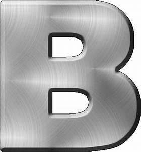presentation alphabets brushed metal letter b With brushed metal letters