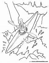 Kayak Coloring Drawing Pages Kayaking Printable Colormountain Boat Getdrawings Helmet Getcolorings sketch template