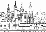 London Coloring Tower Kingdom United Printable Drawing Castles Paper Buildings Crafts sketch template