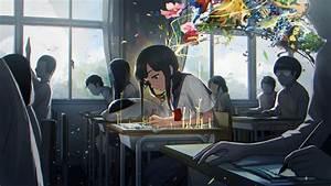 Creativity, Anime, Girls, School, Trees, School, Uniform, Desk, Abstract, Original, Characters