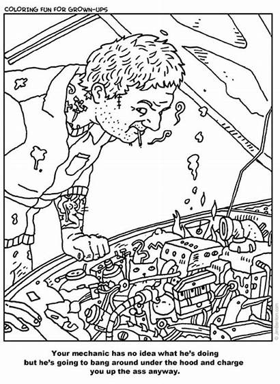 Coloring Pages Adult Funny Fun Adults Mechanic
