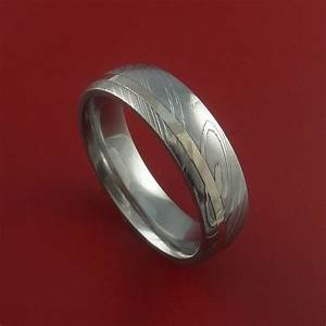 damascus steel 14k white gold ring hand crafted wedding band With damascus wedding ring