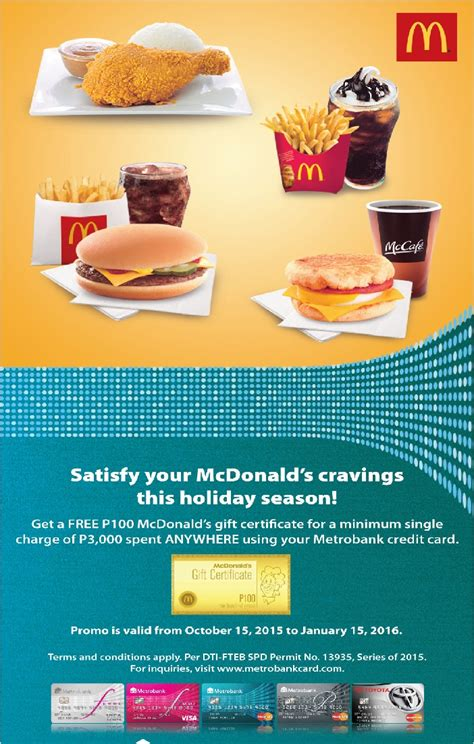 I used to have a bpi express credit card. Metrobank Card Promo - Get P100 McDonald's GC For Every P3,000 - Karen MNL