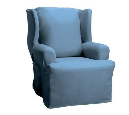 sure fit wing chair slipcover sure fit cotton duck wing chair slipcover page 1 qvc com