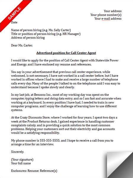 call center cover letter sle cover letter sle