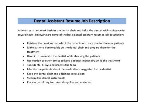 Dental Assistant Resume Description by Dental Assistant Resume Sle Pdf