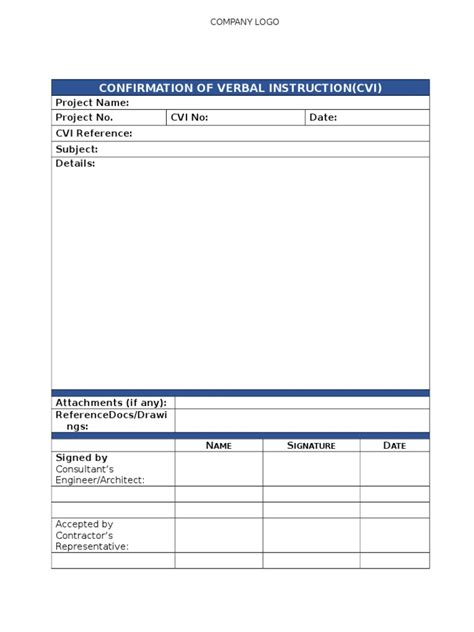 confirmation  verbal instruction template