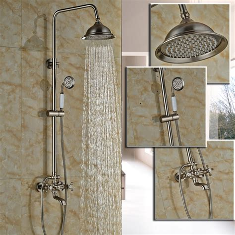 Shower Faucet Sets by Brushed Nickel Bathroom Dual Handle Rainfall Shower Faucet