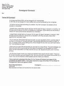 consignment shop contract template templates resume With consignment shop contract template