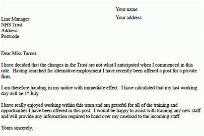Resignation Nhs Letter Example Examples Company Letters