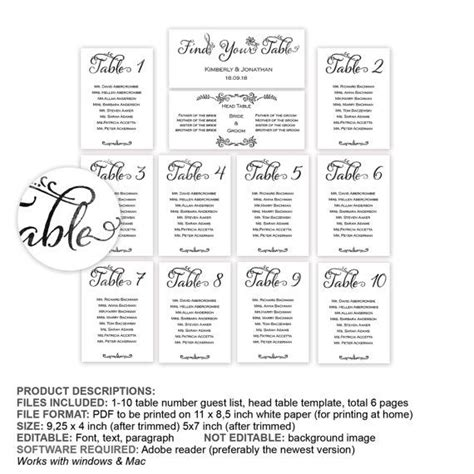 Wedding Table List Template by Table Seating Chart Guest Name List By