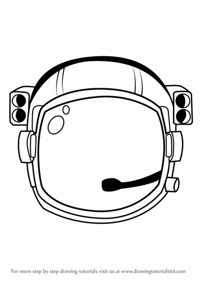 Astronaut Helmet Drawing Draw Step Coloring Simple
