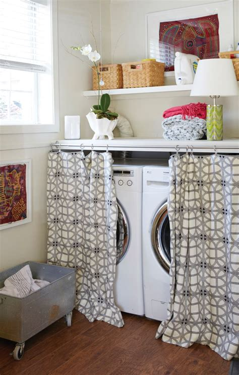 laundry room curtains 15 laundry spaces that cleverly conceal their unsightly