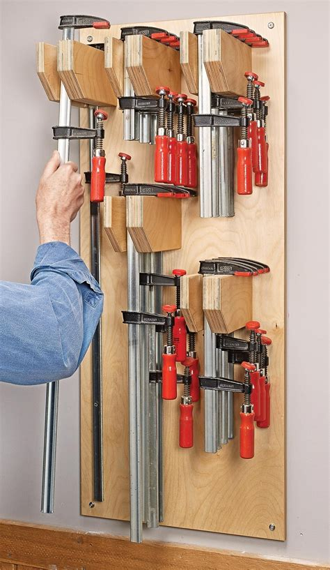 It works great and is. Space Saving Bar Clamp Rack | Woodworking shop layout ...