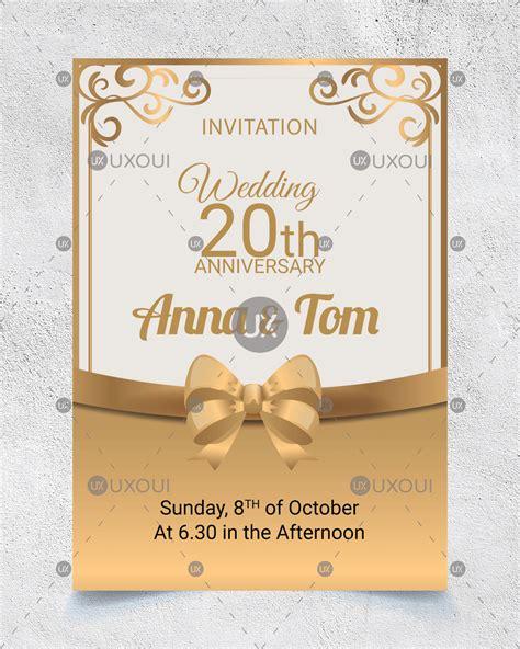 wedding anniversary invitation card design  golden