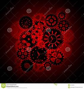 Time Clock Gears Clipart On Red Background Royalty Free ...