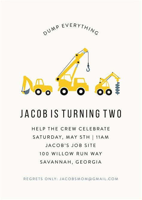 dump truck construction invitation  photo birthday
