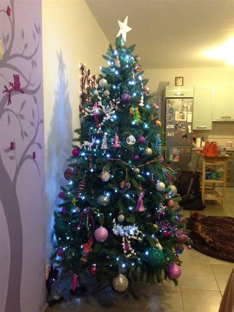 my first christmas tree purple pink blue white and silver