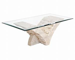 Seagull stone coffee table in clear glass top 16912 for Stone base glass top coffee table