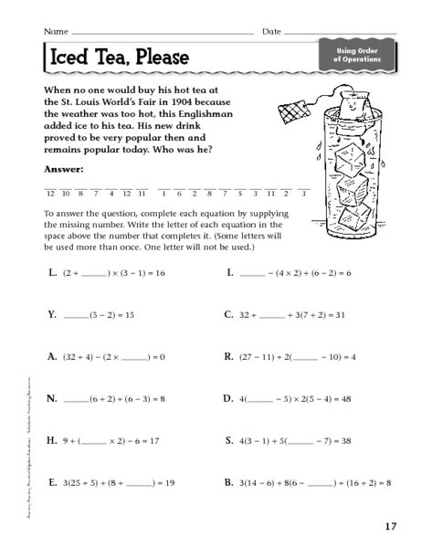 fraction order of operations worksheet use these free
