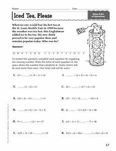 Iced Tea  Please  Order Of Operations Worksheet For 7th