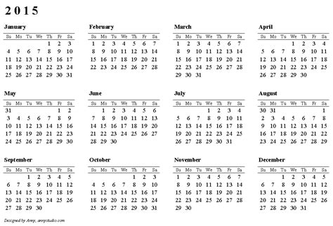 Horizontal Single Page Calendar 2015, Weeks Are In Rows