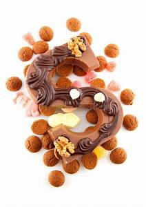 decorated chocolate letter s for sinterklaas stock photo With dutch chocolate letters christmas