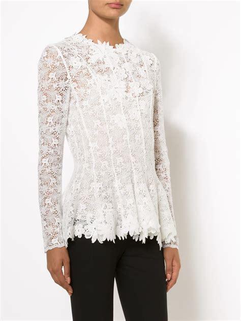 lace blouse oscar de la renta floral lace blouse in white lyst