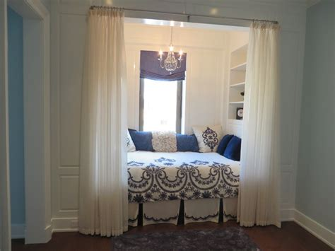 Blue And White Contemporary Bedroom Design Ideas by Blue And White Bedroom Nook With A Shade Sheers