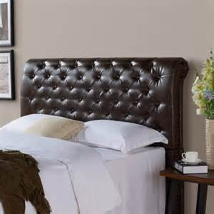 better homes and gardens rolled tufted upholstered headboard brown bonded leather multiple