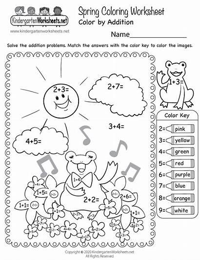 Coloring Worksheets Spring Worksheet Kindergarten Printable Addition