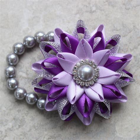 wrist corsage purple corsage flower bracelet silver