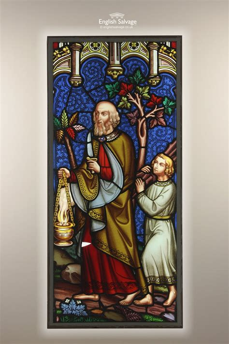 antique religous stained glass panel