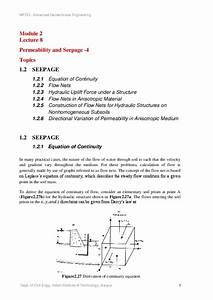 Equation Of Continuity Flow Nets Hydraulic Uplift Force