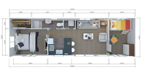 3 bedroom cabin floor plans 2 or 3 brm tiny house 12 6m by 3 9m unit2go