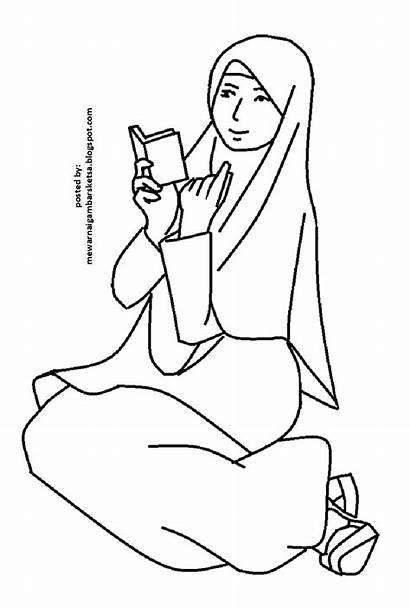 Mewarnai Gambar Princess Sketsa Kartun Muslim Coloring