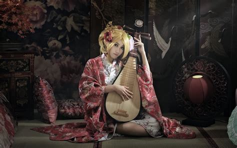 women model blonde biwa kimono asian pipa japan hd
