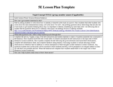 5e Lesson Plan Template Science Costumepartyrun