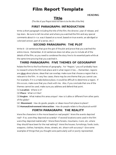 Film Report Template