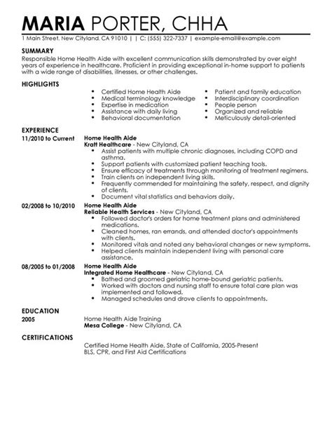 home health aide resume sle