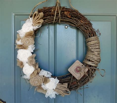 Burlap Grapevine Wreath Burlap Roses Pearls And Ivory