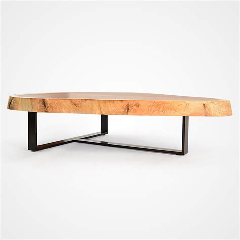 Free Form Wood Coffee Table  Blackened Metal Base